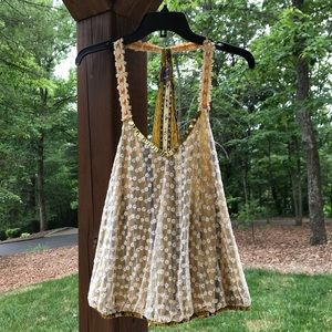 Free People yellow dressy tank. Lots of details